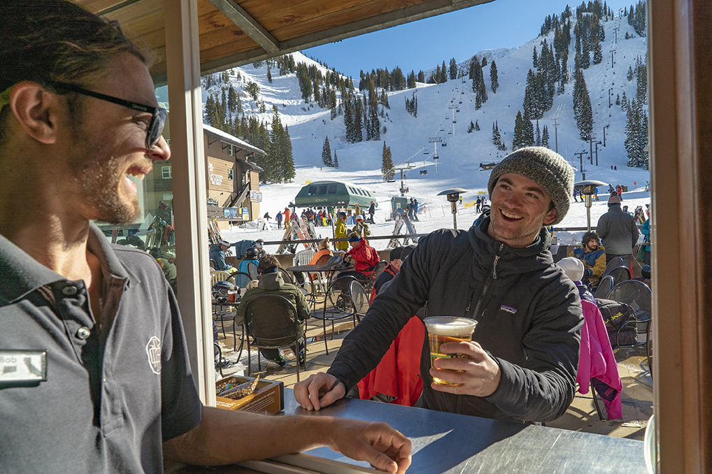 The patio attached to our cafe is the closest Ski-in Ski-out job possible, with the lifts just a stone's throw away.
